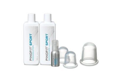 PINOFIT® Sport Massageset mit Massagelotion, Magnesiumöl, Magnesiumöl Spray und Massage Cups