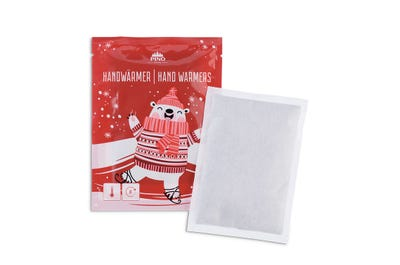 Geschenkaktion mit 60 Stück Handwärmer Doppelpack in winterlicher Verpackung