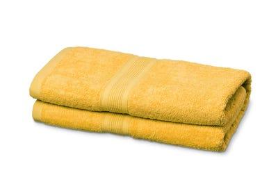 Saunalaken aus Flausch-Frottee in Yellow
