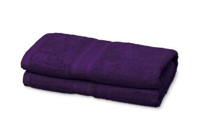 2 Duschtücher aus Flausch-Frottee, purple