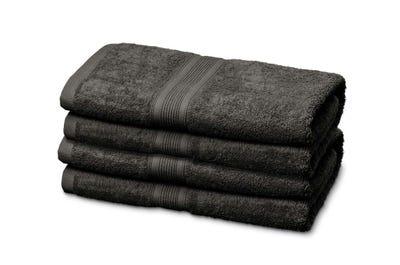 12 Gästehandtücher aus Flausch-Frottee, dark grey