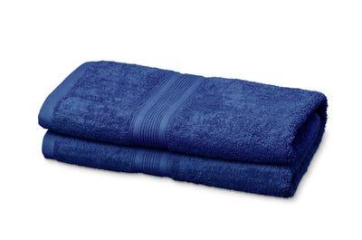 Saunalaken aus Flausch-Frottee royal blue 2er Pack