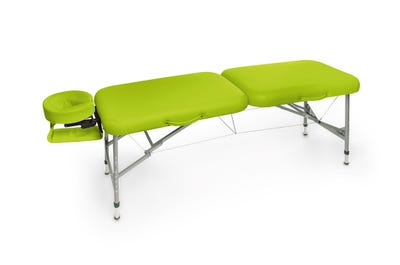Koffer Massagebank Aluminium, lime