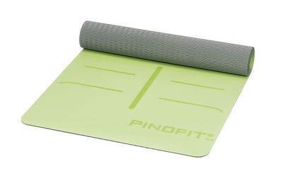PINOFIT Yogamatte lime & grey mit Markierungen