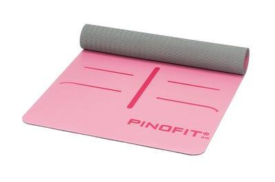 PINOFIT Yogamatte mit Markierungen fuchsia & grey