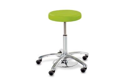 Rollhocker mit runder Sitzfläche & Höhenverstellung Fußring