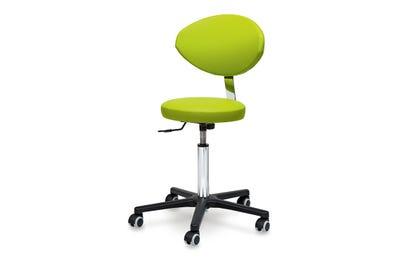 Rollhocker mit runder Sitzfläche, Höhenverstellung über Handhebel & Rückenlehne