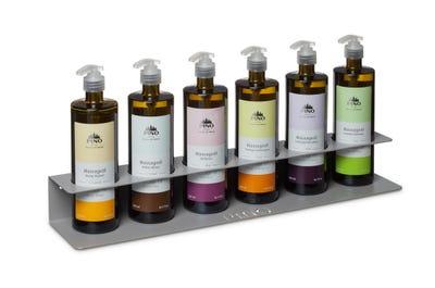 Massagehalter silbergrau für 6 Naturkosmetik Massageölflaschen
